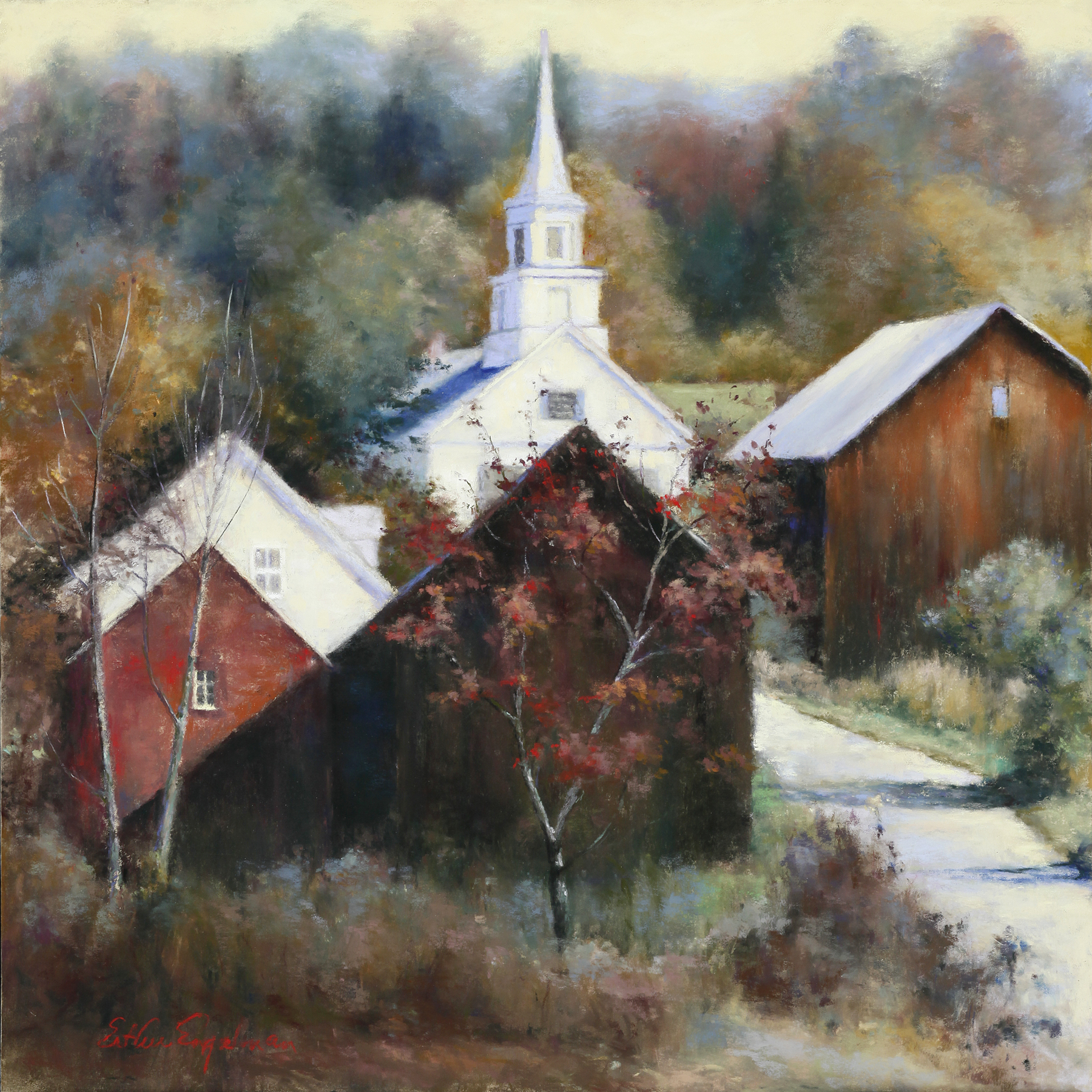 "Esther Engelman, ""New England Veterans"", Pastel on paper, 20"" x 20"""